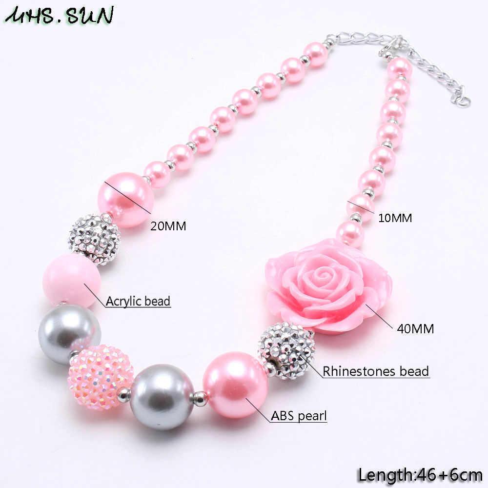 Mhs. sun rosa estilo meninas crianças chunky grânulos colar com rosa flor criança bubblegum frisado colar moda chunky jóias 1 pçs