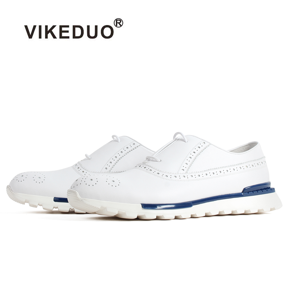 VIKEDUO White Genuine Calf Skin Sneakers Brogue Lace-Up Rubber Sole Handmade Bespoke Men's Shoes Casual Sports Leather Footwear