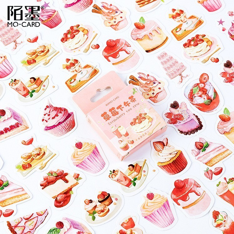 46PCS/box Strawberry Afternoon Tea Paper Lable Sealing Stickers Crafts Scrapbooking Decorative Lifelog DIY Stationery Sticker