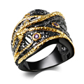 New Party ring For Women Black& Gold Plated Lead Free Muti Color Cubic Zircoina Free Allergy Black rings