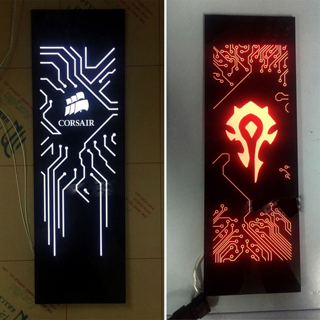 BYKSKI Custom-made Charge Light Backplane use for Computer Case Side DIY Acrylic Board Size 440*140*8mm Design Cool System