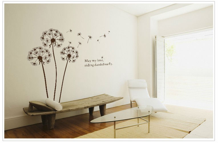 Dandelions flowers home decoration diy vinyl removable wall stickers child love bathroom mirror wall art mural decals quotes in wall stickers from home