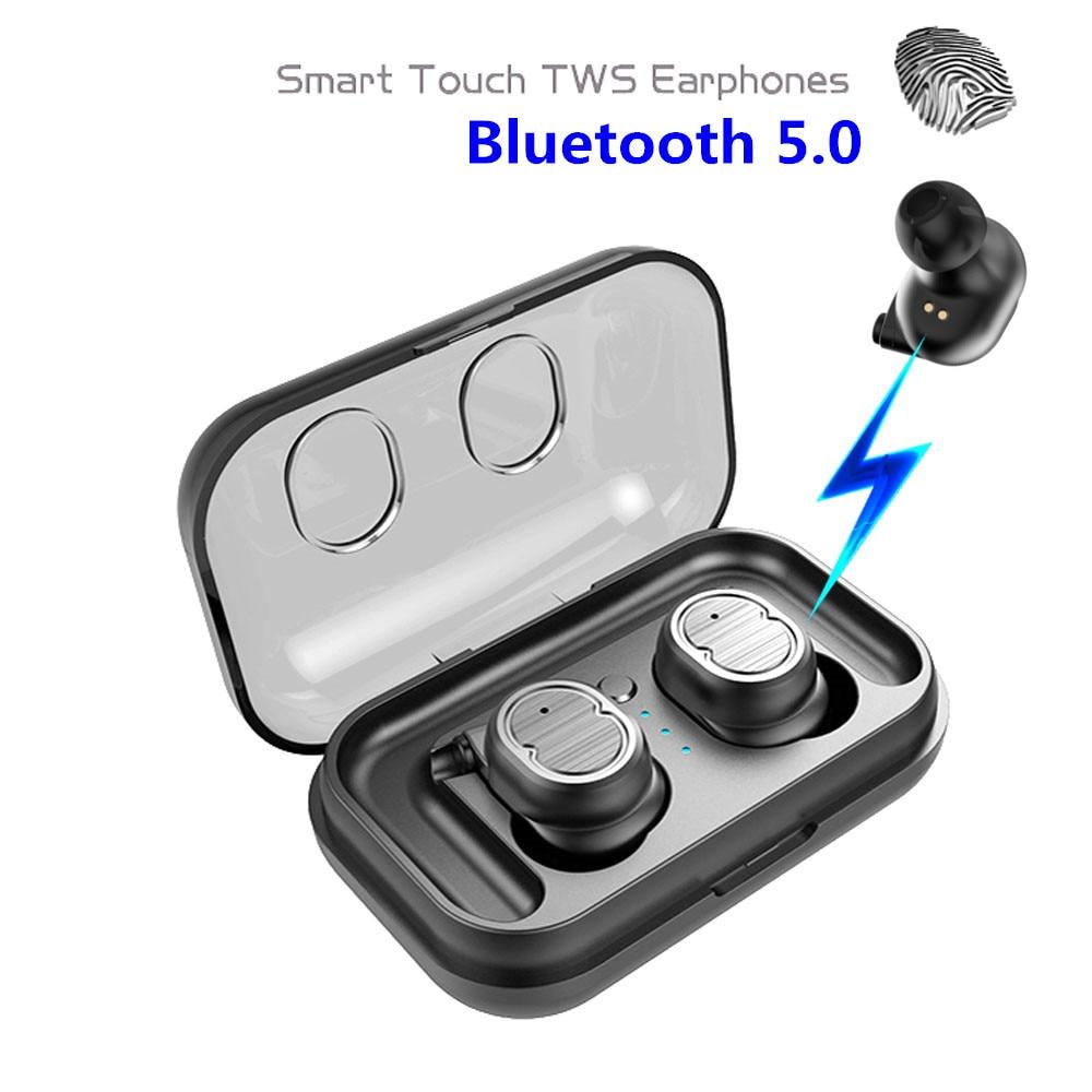 E-XY Twins Mini 3D Stereo Sound 5.0 Bluetooth Earphones & Headphones True Wireless Waterproof Sport Earbuds with Power bank