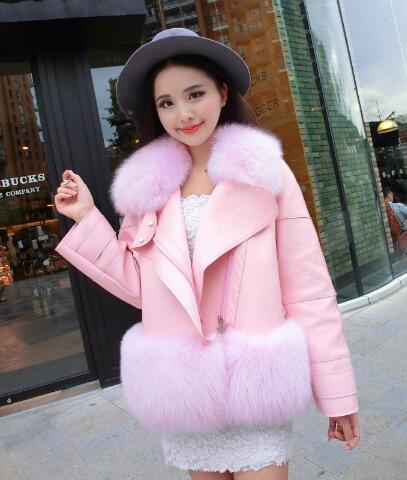 Leather Jacket Women Pink Fur Coat Fluffy Faux Rabbit Fashion For