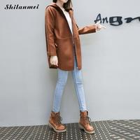 Women New Coat Winter 2018 Woollen Hooded Flap Pockets Camel Coat Female Overcoat Patchwork Mid Long