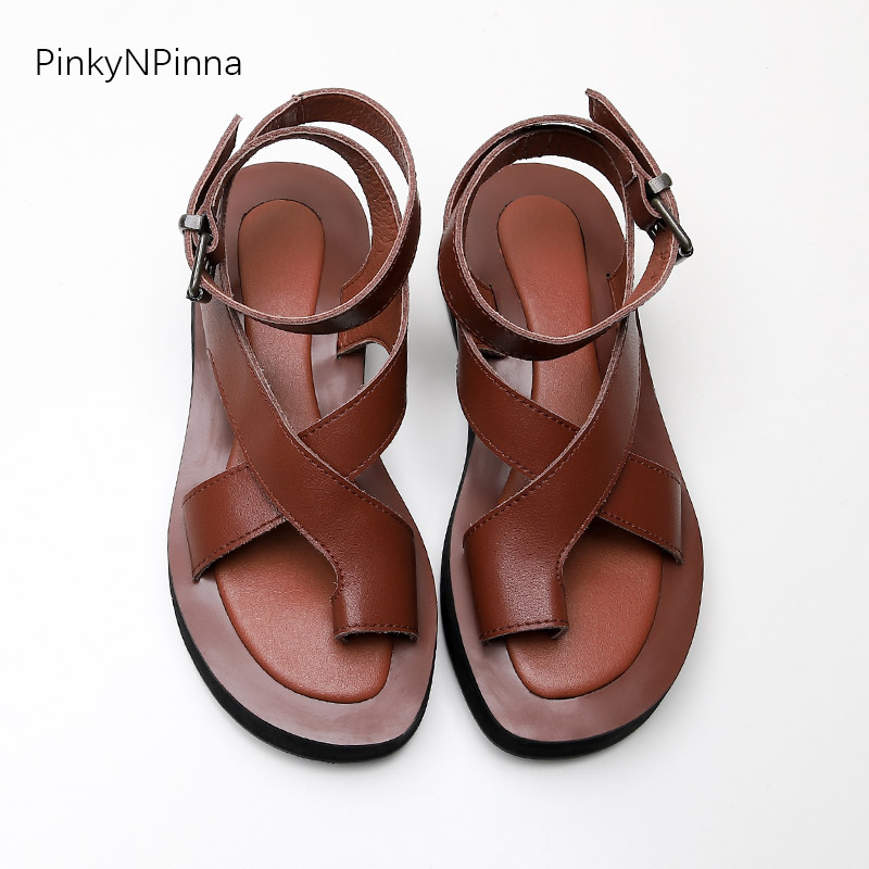 Gladiator Sandals Toe-Strap Beach-Shoes Flat Vintage Genuine-Cow-Leather Women Casual