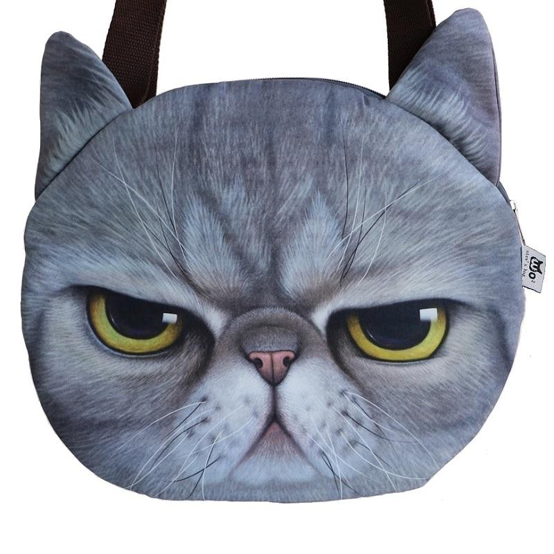 Hot Sale! New Designed Female Retro Cartoon 3D Animal Printing Shoulder Bags Cat