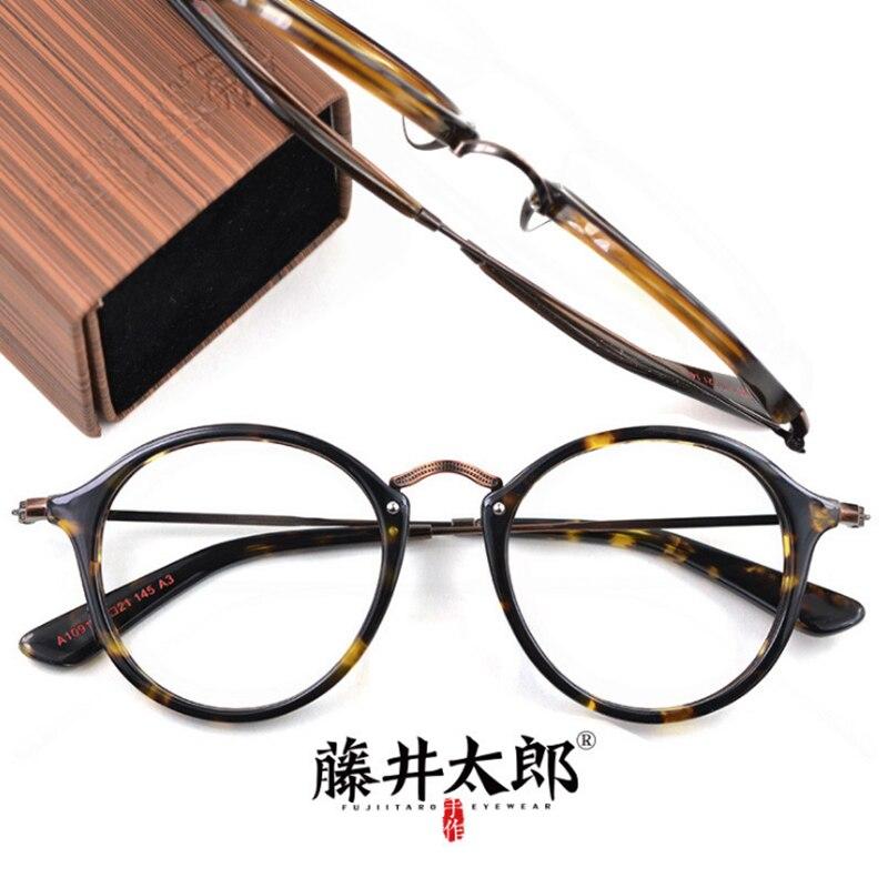 TARO FUJII lunettes de vue hommes femmes rétro rond acétate ordinateur optique clair lentille lunettes cadre mâle femmes A1091