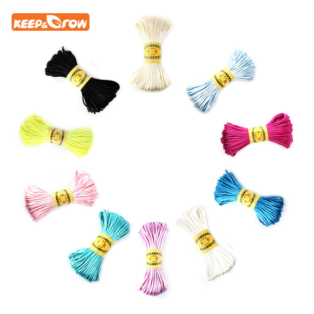 Keep&grow 20Meters Satin Silk Rope Nylon Cord For Baby Teether Chain Accessories Teething Necklace Rattail Cord DIY Tool 2.5mm