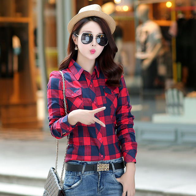 6c5adc03d12f8 Women Flannel Plaid Shirt 2018 Brand Women Blouses Long Sleeve Female Red  Plaid Style Casual Girls Shirts Plus Size Blusas Tops