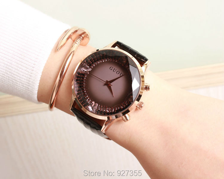 (6 Color) 2015 New Arrival Women Rhinestone Watches Luxury Quartz Watch Five Point Watch Genuine Leather Wristwatches GUOU 8037