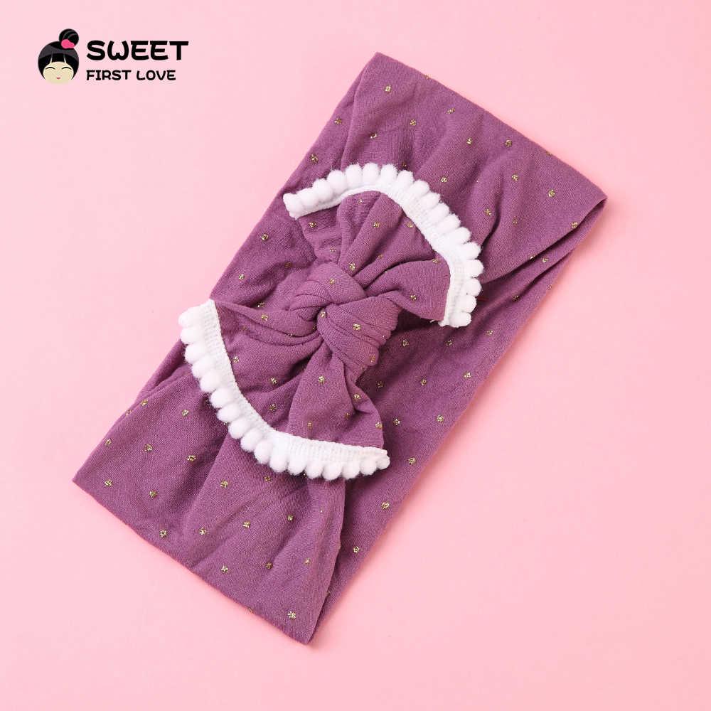 Милая Детская повязка на голову, эластичная простая повязка для волос, тюрбан для девочек, оптовая продажа, мягкая ткань, резинка на голову с бантом, одежда для волос, аксессуары для детей
