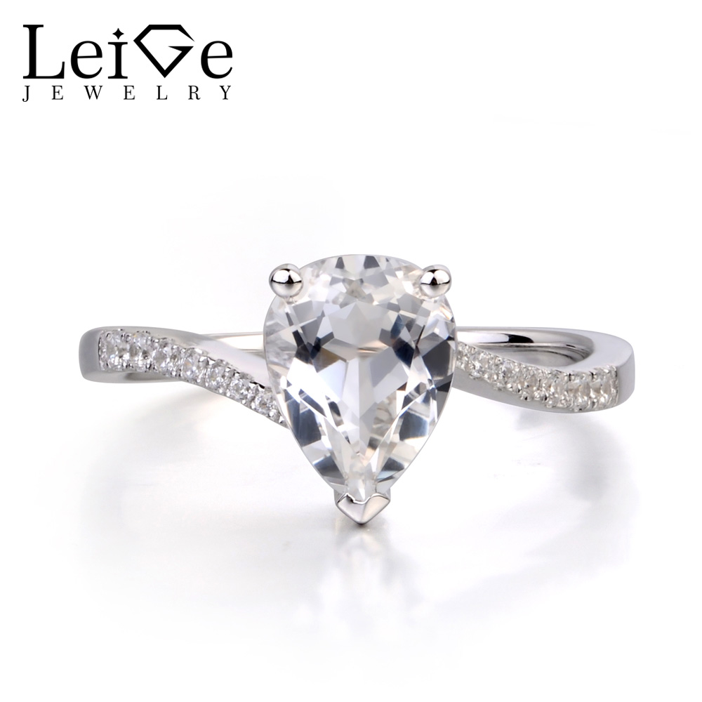 Leige Jewelry Pear Shaped Engagement Rings Natural White Topaz Ring for Women Sterling Silver 925 Jewelry Pear Cut Gemstone leige jewelry pear shaped engagement rings for women lab alexandrite promise ring sterling silver 925 fine jewelry pear gemstone