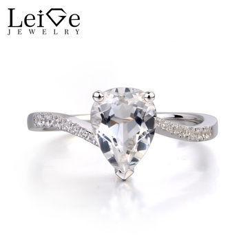 Leige Jewelry Pear Shaped Engagement Rings Natural White Topaz Ring for Women Sterling Silver 925 Jewelry Pear Cut Gemstone