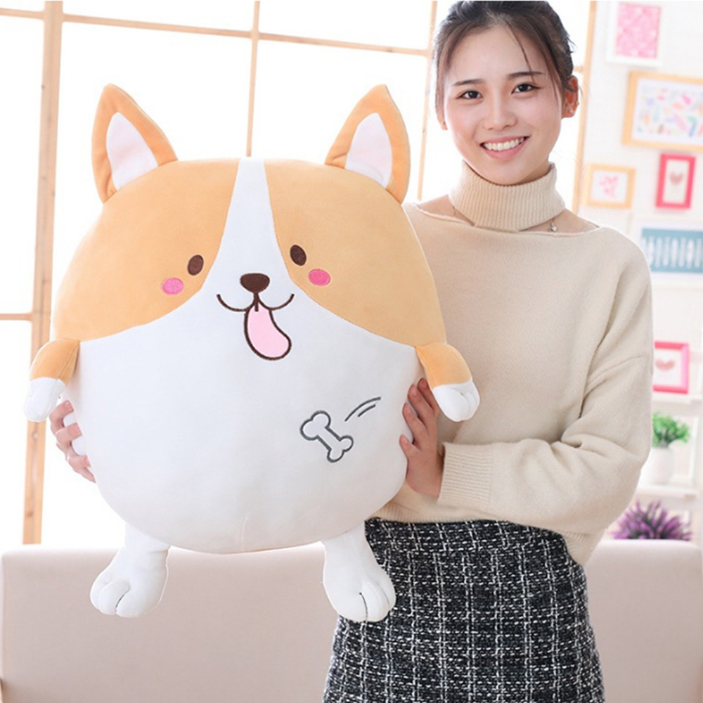 цены Fancytrader Soft Corgi Plush Pillow Toys Big 60cm Stuffed Animals Dogs Doll 60cm for Kids 3 Models
