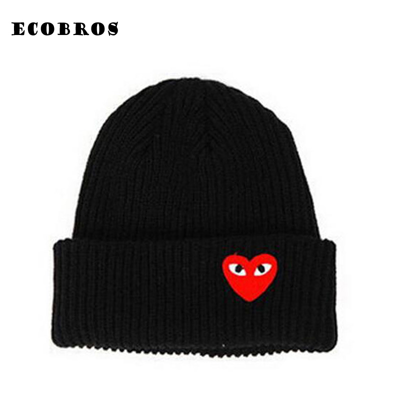 Hats Beanies Crochet-Cap Knit-Hat Skullies Warm Heart-Eyes Winter Woman Cartoon Label
