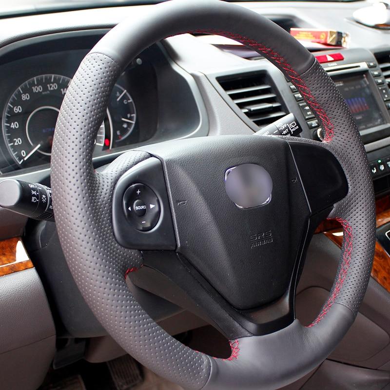 Cubierta del volante de cuero negro cosido a mano para Honda CRV 2012 - Accesorios de interior de coche - foto 3