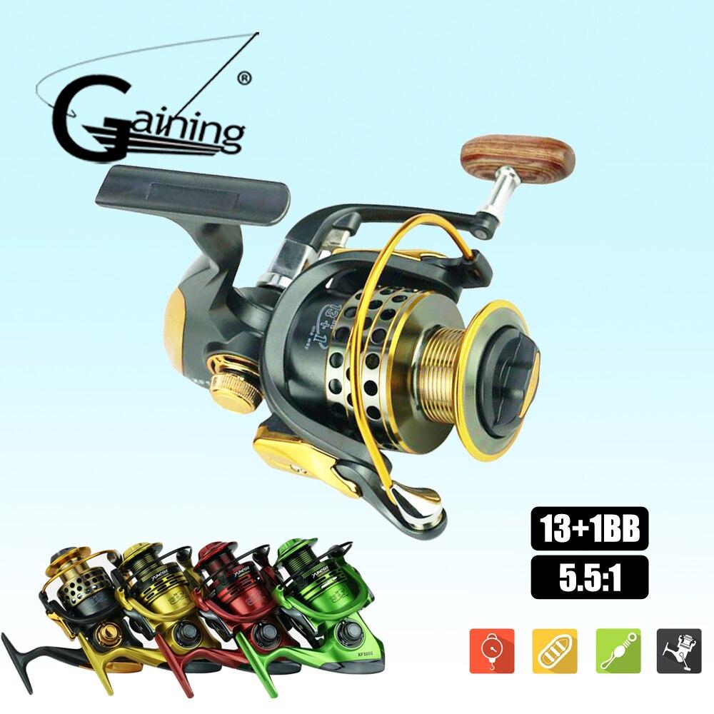 Moulinets de poisson d'eau salée 13 + 1 roulements à billes moulinet de filature XF1000-XF7000 moulinet de filature carpe poignée en métal roue de pêche