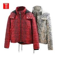 2018 Fashion Red Snake Skin Print Parkas Winter Women Warm Jacket Female Cotton Padded Coat Feminine Outerwear Ropa de algodon