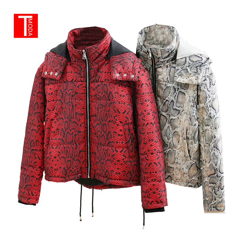 2018 Fashion Red Snake Skin Print   Parkas   Winter Women Warm Jacket Female Cotton Padded Coat Feminine Outerwear Ropa de algodon