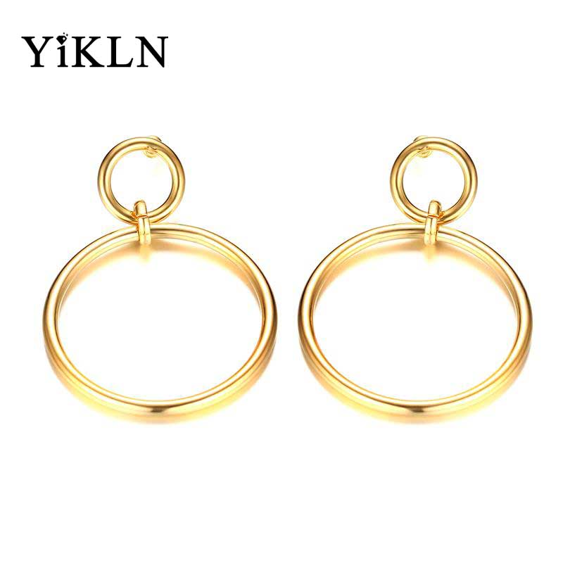YiKLN Brand Trendy Hoop Earrings For Women Simple Gold Color Stainless Steel Double Circle Earring Party Jewelry Boucles JEH182G