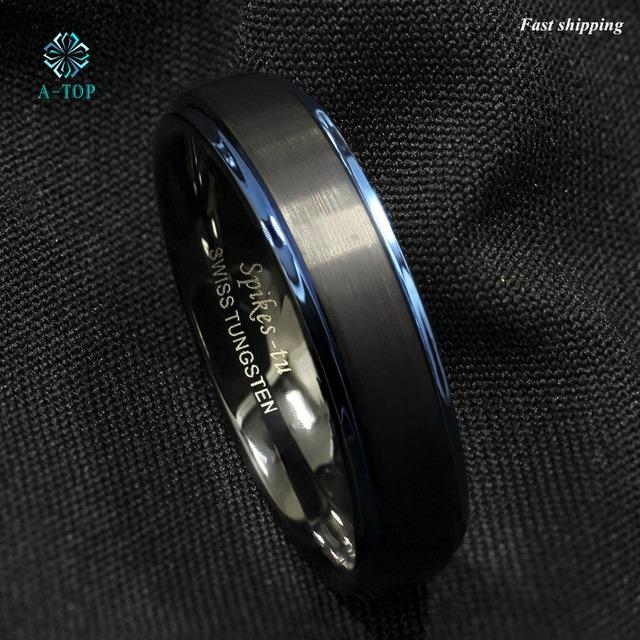 Mens wedding bands black 6mm
