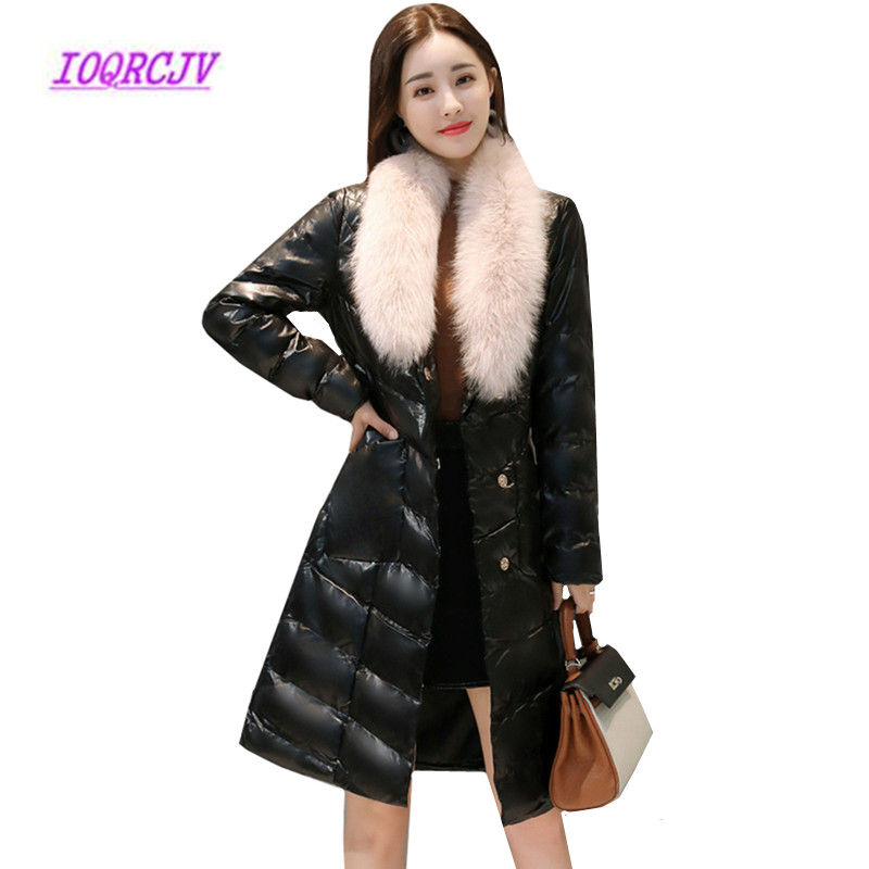 Winter Women's Down Cotton Jackets Fur Collar Long PU   Leather   Jacket Women's Large size Slim Fashion Fine   Leather   Trench coat