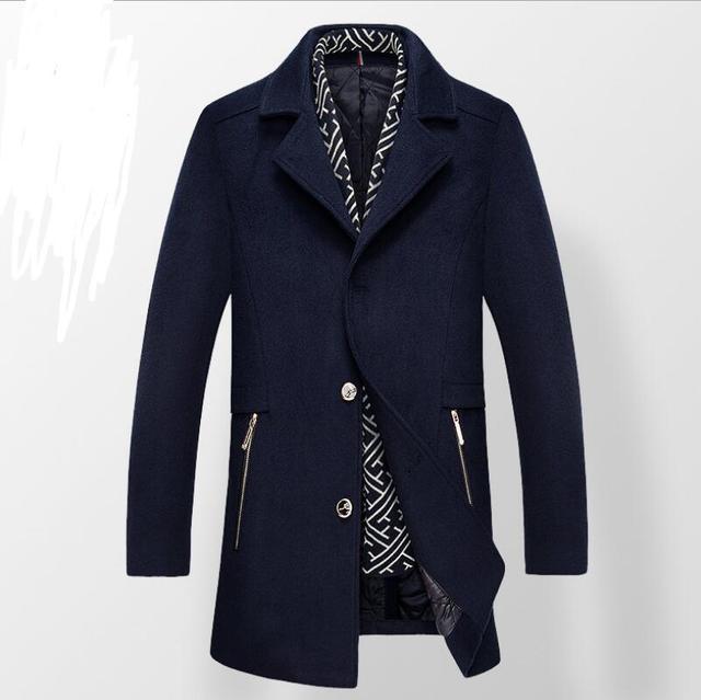 Ropa De Hombre Moda 2016 Chaquetas Invierno Men's Business Temperament Brand Parka  Turn-down Collar Men's Wool Coat Men Winter