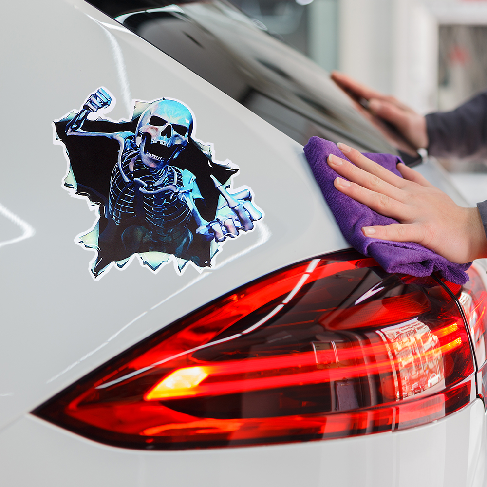 16x15cm Funny Car Sticker Motorcycle Auto Decal Car-styling Scary Skeleton Skull Decoration for Car Body Window