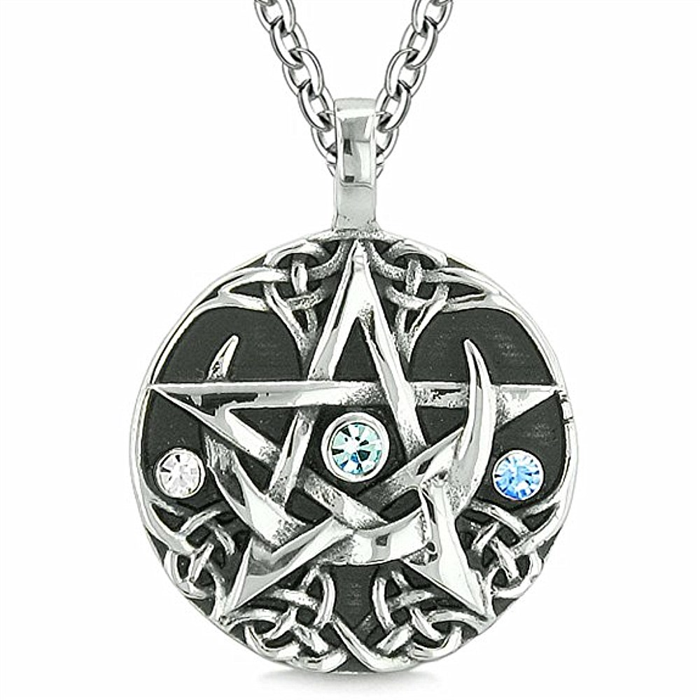 Custom Design Accept Dropship Fashion Trendy Crystal Wiccan Pagan Magic Star Pentacle Pentagram Pewter Pendant Necklaces