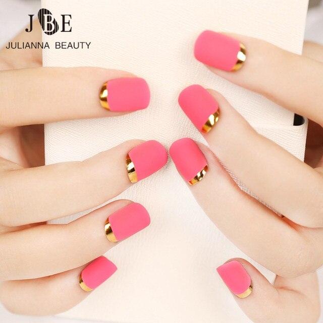 24 Unids Corta Uñas Postizas de Color Rosa Esmerilado Rotación ...