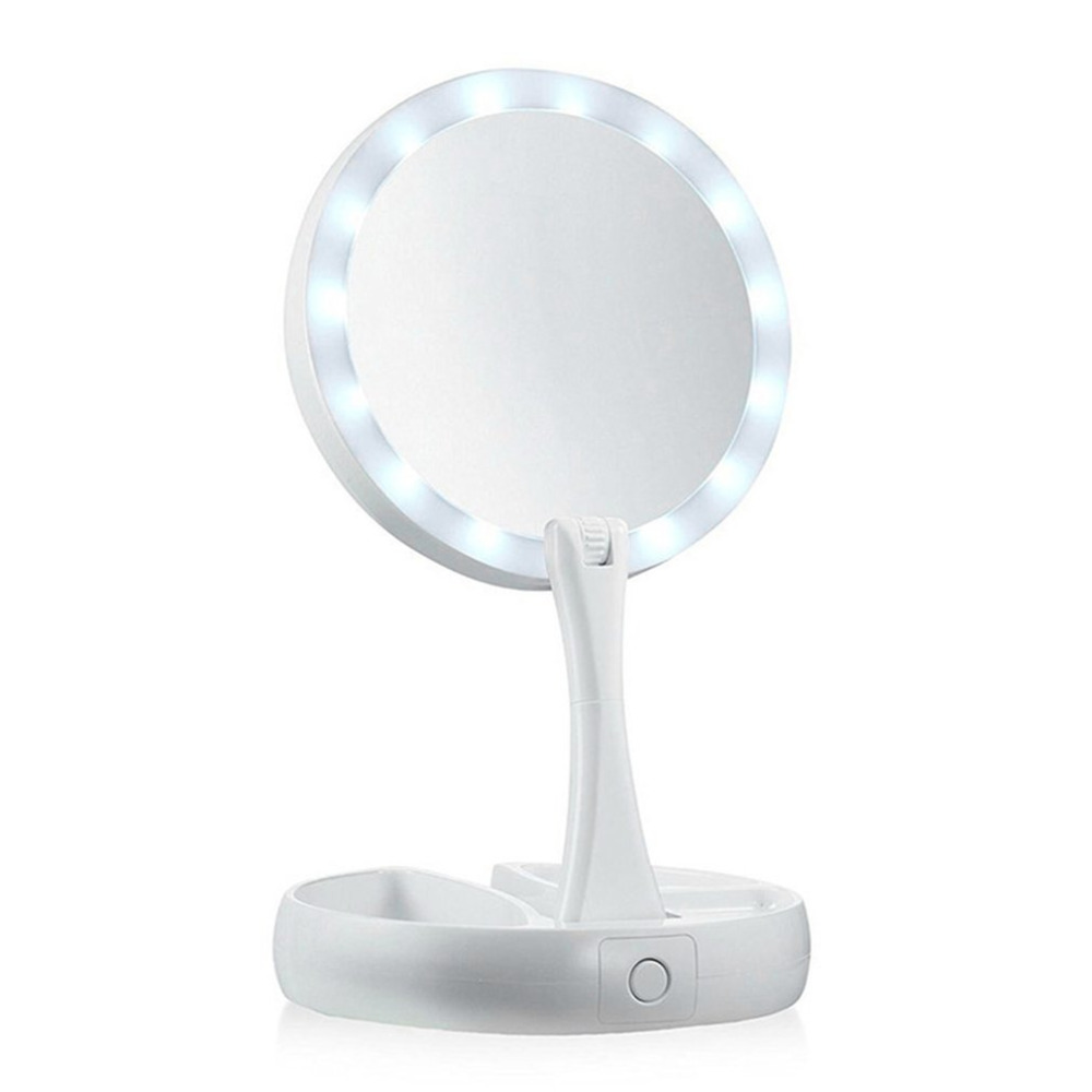 Double Sided Magnifying Desktop LED 360 Degree Swivel Cordless Cosmetic Makeup Mirror Lady Beauty Facial Light Lighted Mirror
