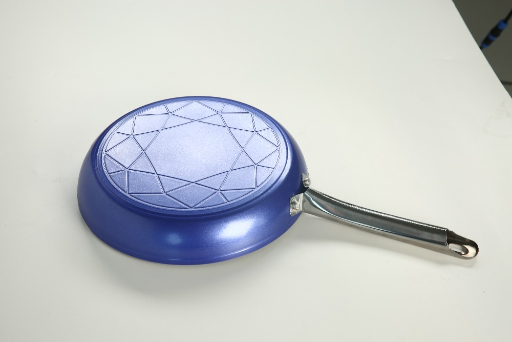 Кастрюля с антипригарным покрытием Керамическая медная сковорода антипригарная сковорода блестящая керамическая антипригарная синяя сковорода для жарки-10 дюймов открытая сковорода