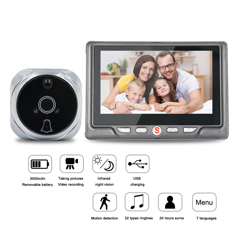 4,3 ЖК-экран видео-глаз дверной зритель ИК ночного видения Визуальный дверной глазок камера фото/видео цифровой дверной звонок камера