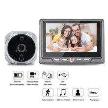 """4.3 """"LCD renkli ekran Video göz kapı görüntüleyici IR gece görüş görsel kapı gözetleme kamerası fotoğraf/Video dijital kapı zili kamera"""