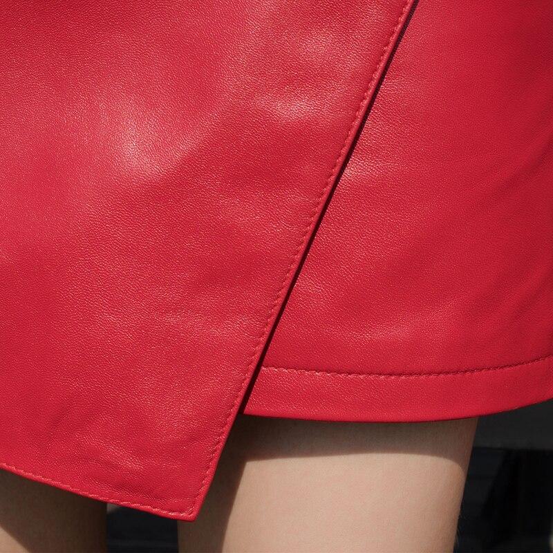 Cuir Mince Printemps Zip Automne Rouge Grande Jupe Bureau Portefeuille Femmes Véritable En Asymétrie Rue Peau Luxe Mouton Red De Courte Taille TxBgxw