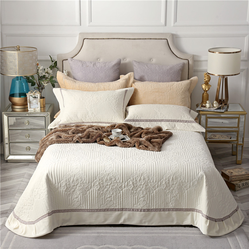 Beige Gray Brown High Quality Comfortable Flannel Cotton Summer Blanket Thick Bedspread Bed Cover Sheet Linen Pillowcase