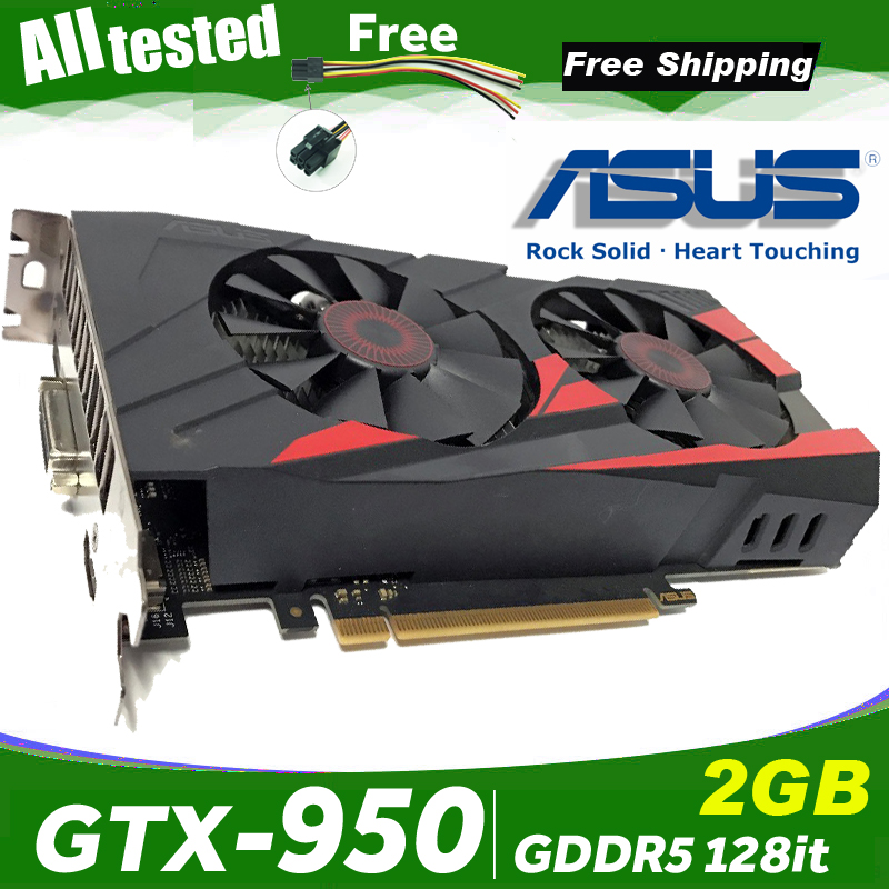 ASUS Graphics-Card GDDR5 Used Nvidia GTX950 Geforce Hdmi 128bit 2GB Dvi Original