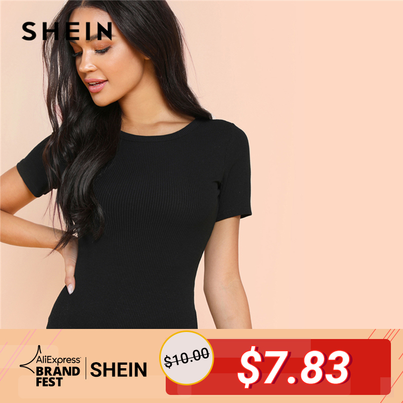 d56e11baf3 SHEIN Black Minimalist Solid Form Fitting Bodysuit Casual O-Neck Short  Sleeve Skinny Bodysuit Women