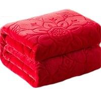 Одеяло на кровати из искусственного меха кораллового флиса норки бросок сплошной цвет тиснением диван в Корейском стиле плед диван стул од...