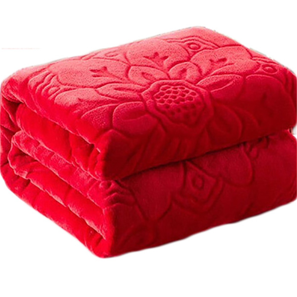 Blanket On The Bed Faux Fur Coral Fleece Mink Throw Solid Color Embossed Korean Style Sofa Cover Plaid Couch Chair Blanket