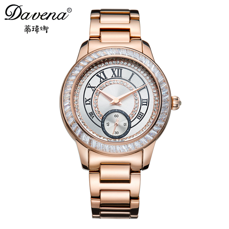 New Women Stainless Steel Wristwatches Best Crystal Fashion Casual Quartz Watch Famous Davena 61011 Gold Clock Relogio Feminino 2017 new famous brand gold crystal geneva casual quartz watch women stainless steel dress watches relogio feminino men clock hot