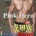 Pink Héroe Boxeadores de la Ropa Interior Atractiva de la Tela Escocesa Hombres Cueca Del Boxeador de Los Hombres Pantalones Cortos de algodón 4 PC/lot Tire en 4 Colores M. L. XL. XXL Nuevo venta al por mayor