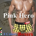 Pink Hero Sexy Plaid Boxers Underwear Men Cueca Boxer Men Cotton Shorts 4PC / lot Pull in 4Colors M.L.XL.XXL New wholesale