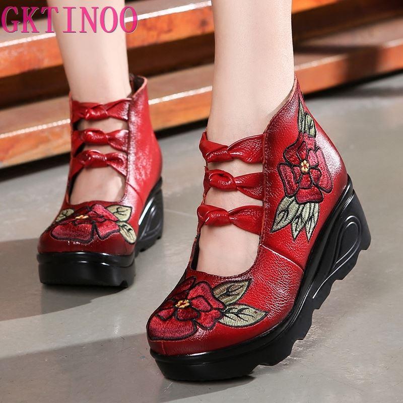 GKTINOO ใหม่ฤดูใบไม้ผลิของแท้หนังผู้หญิงปั๊มแพลตฟอร์ม Wedges รอบนิ้วเท้าปักกลับ Zip รองเท้าส้นสูง Handmade รองเท้าผู้หญิง-ใน รองเท้าส้นสูงสตรี จาก รองเท้า บน AliExpress - 11.11_สิบเอ็ด สิบเอ็ดวันคนโสด 1