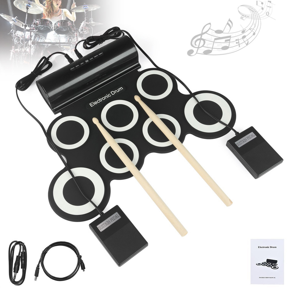 Portable Roll Up Digital Electronic Drum Set 7 Silicon Pads Built-in Speakers With Drumsticks Sustain Pedal Support USB MIDI