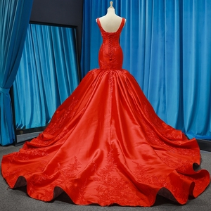 Image 3 - J66785 jancember mermaid evening dresses V neck red wedding party trumpet dresses pengant merah pleat robe rouge satin court