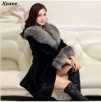 2018 Luxury FAUX Mink Fur Coat With Large Fur Collar Women Winter Coat Winterjas Dames Fur Gilet Jackets chalecos de pelo mujer