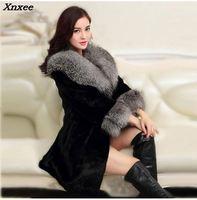 2018 Luxury FAUX Mink Fur Coat With Large Fur Collar Women Winter Coat Winterjas Dames Fur Gilet Jackets chalecos de pelo mujer