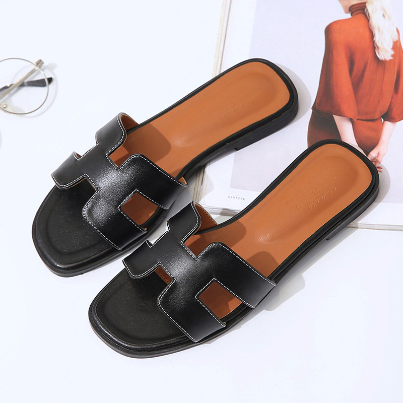 Phyanic 2018 summer leather slippers women fashion flat - Ladies bedroom slippers with heel ...
